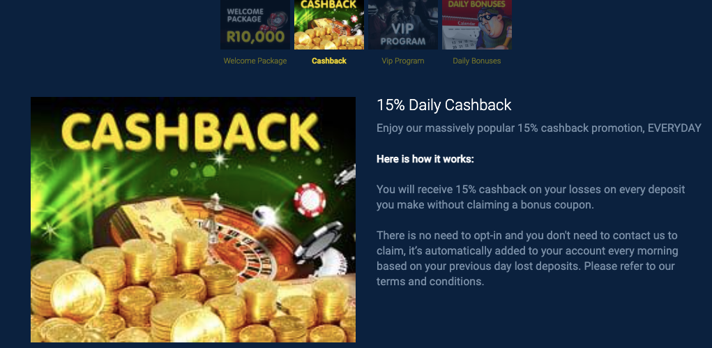 punt casino cash back