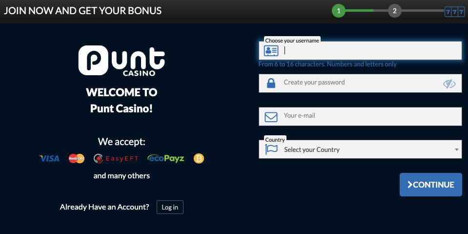 register punt casino