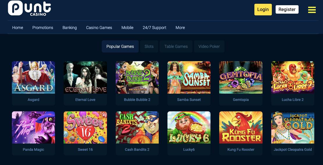 slot machines on punt casino website