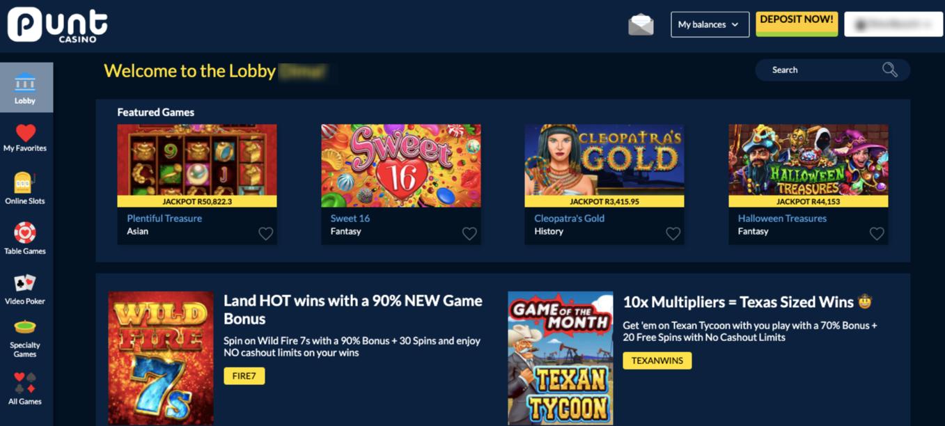 homepage punt casino website